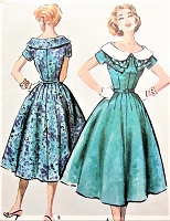 50s LOVELY Dress Pattern McCALLS 4394 Large Wide Collar Figure Flattering Day or Party Dress Bust  40 Vintage Sewing Pattern