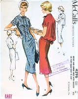 1950s EYECATCHING Slim Dress with Bloused or Plain Back Easy To Sew Pattern McCALLS 4396 Bust 36 Vintage Sewing Pattern