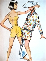 1950s BEACHWEAR Pattern McCALLS 4537 Cute Top, Highwaist Shorts and Blouson Jacket Perfect Weekend  Beach Wardrobe Bust 32 Vintage Sewing Pattern
