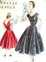 1950s BEAUTIFUL Evening Party Dress Pattern VOGUE Special Design 4544 Flattering 4 Panel With Godets Bust 30 Vintage Sewing Pattern