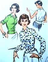 1950s STYLISH Overblouse, Peplum Blouse Pattern McCALLS 4604 Three Style Versions,Lovely Design Bust 36 Vintage Sewing Pattern FACTORY FOLDED