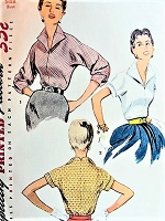 1950s STYLISH Blouse Pattern SIMPLICITY 4646 Striking WING Collar Tuck In Blouse Two Versions Bust 36 Vintage Sewing Pattern