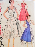 1950s FAB HALF n HALF Dress Pattern SIMPLICITY 4683 Simple To Make Sleeveless Low V Neckline Wrap Around Dress Regular or Flirty Tied Shoulders Large Pockets Bust 34 Vintage Sewing Pattern