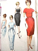 1960s  FLATTERING Bell Shape Skirted Evening Gown Dress Pattern SIMPLICITY 4688 Includes Button Back Jacket Bust 32 Vintage Sewing Pattern