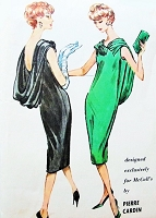 1950s Stunning PIERRE CARDIN Evening Cocktail Party Dress Pattern McCALLS 4696 Chemise Slim Dress,Dramatic Shoulder Back Cowl Drape, Bust 34 Vintage Sewing Pattern