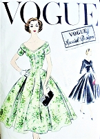 1950s GLAMOROUS Party Evening Dress Pattern VOGUE 4728 Special Design Figure Flattering Fit and Flare Style Inverted Pleats Wide Open V Necklines Bust 34 Vintage Sewing Pattern