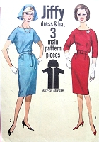 1960s SIMPLICITY 4732 Pattern Slim Dress and Hat EASY TO SEW Bust 34 Jiffy Vintage Sewing Pattern