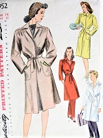 1940s FAB All Purpose Coat Pattern SIMPLICITY 4952 Lined or Unlined Classic Forties Coat Day, Beach, Lounging Bust 32 Vintage Sewing Pattern