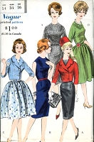 1960 CHIC  Slim or Full Skirt Dress and Double Breasted Jacket Pattern VOGUE 5088 Jewel Neckline Classy Day or After 5 Styles Bust 34 Vintage Sewing Pattern