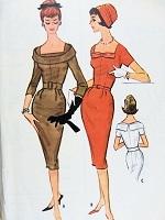 1950s Vintage ELEGANT Belted Sheath Dress with Different Collars McCalls 5096 Sewing Pattern Bust 34