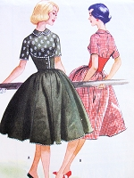1950s McCALLS Pattern 5147 Corset Style Midriff ROCKABILLY Dress Full Skirt Peter Pan Collar Bust 34 Easy To Sew Vintage Sewing Pattern