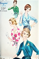 1960s ELEGANT Side Wrapped Blouse Pattern VOGUE 5222 Four Stunning Versions Day or Evening Bust 34 Vintage Sewing Pattern
