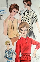 1960s Set of Classy Blouses Pattern VOGUE 5339 Four Pretty Styles Overblouses Bust 36 Vintage Sewing Pattern