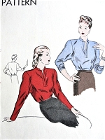 1940s FABULOUS Film Noir Blouse Pattern VOGUE 5534 Ann Sheridan Style Low Slit Tuck In Blouse, Dramatic Dolman Sleeves Bust 34 Vintage Sewing Pattern
