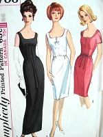 1960s BEAUTIFUL  Slim Evening Gown Cocktail Party Dress Pattern SIMPLICITY 5706 Flattering Shaped Neckline, Very Audrey Style Bust 34 Vintage Sewing Pattern FACTORY FOLDED