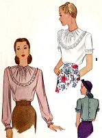 1940s LOVELY Film Noir Style Blouse Pattern McCALL 6058 Bust 34 Vintage Sewing Pattern