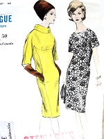 1960s ELEGANT Slim Dress Pattern VOGUE Young Fashionables 6074 Two Classy Styles Bust 31 Vintage Sewing Pattern
