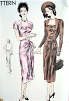 1940s GORGEOUS Evening Dinner Cocktail Party Dress Pattern VOGUE 6085 Side Cascade Drape,Cluster Shirring,Dramatic Design Bust 32 Vintage Sewing Pattern