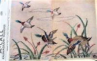 RARE 1930s DECORATIVE Mallards In Flight Cross Stitch Wall Panel Design Pattern McCALL 608 Flying Ducks Needlework, Kaumagraph Transfer for Embroidery Old Kaumagraph Transfer Wildlife Embroidery NEVER USED