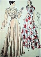 1940s GORGEOUS Negligee Robe Pattern VOGUE 6152 Hostess Gown, Glamorous Housecoat, Lounging Robe Bust 30 Vintage Sewing Pattern