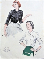 1950s CHIC Blouse Pattern BUTTERICK 6219 Perfect For Suits and Skirts Bust 32 Vintage Sewing Pattern