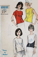 1960s MOD Overblouse Pattern VOGUE 6524 Four Lovely Blouse Styles, Bust 32 Easy To Make Vintage Sewing Pattern