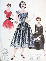 1950s  GLAM Party Evening Dress Pattern BUTTERICK 6578 Choice of 3 Sleeves Perfect Special Occasion Dress Bust 32 Vintage Sewing Pattern