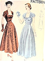 1940s STUNNING Party Evening Dress Pattern VOGUE 6601 Lovely Bias Circular Skirt Eye Catching Necklines Bust 34 Vintage Sewing Pattern