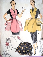 1950s CUTE Aprons Pattern ADVANCE 6607 Full Bib or Hostess Half Aprons, Very Pretty Styles Size Small Very Easy To Sew Vintage Sewing Pattern FACTORY FOLDED
