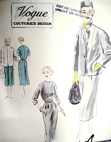 1950s Stylish Slim Dress Box Jacket Pattern Vogue Couturier Design 665 Easy Elegance Bust 32 Vintage Sewing Pattern