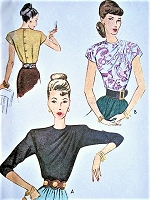 1940s FILM NOIR Era Draped Shoulder Blouse Pattern McCALL 6717 Beautiful Daytime or Evening  Blouses Bust 32 Vintage Sewing Pattern