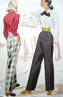 1940s FAB High Waist Pants Trousers Slacks Pattern McCALL 6794 Very Katharine Hepburn Style Waist 26 Vintage Sewing Pattern