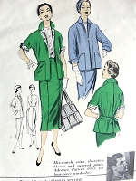 1950s DESIGNER Suit Pattern ADVANCE AMERICAN DESIGNER 6952 Boxy Jacket Slim Skirt Suit Bust 30 Vintage Sewing Pattern