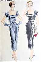 1950s DRAMATIC Slim Cocktail Evening Dress Pattern VOGUE 7197 Draped Hips,Wing Cuff Sleeves Bust 30 Vintage Sewing Pattern