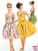 1960s BARDOT Style Party Cocktail Dress Pattern McCALLS 7208 Bare Top V Neckline Flirty Full Skirt  Bust 34 Vintage Sewing Pattern