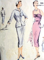 1950s GLAMOROUS Cocktail Evening Party Dress and Jacket Pattern VOGUE 7325 Lovely Slim Dress with Gathered Bodice, Strappy Back,Nip in Waist Fitted Jacket Bust 34 Easy To Make Vintage Sewing Pattern