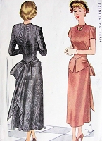 1940s FLIRTY Cocktail Party Evening Dress Pattern McCALL 7446 Peplum Front, Bustle Bow Back,Bust 32 Vintage Sewing Pattern
