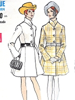 1960s MOD Princess Seam Coat Pattern VOGUE 7533 Figure Flattering Design Includes Scarf Size 8 Vintage Sewing Pattern