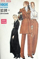 1960s FAB Mini or Maxi High Waisted Coat, Pantsuit Pattern VOGUE 7680 Includes Straight Leg Cuffed High Waist Trousers Pants Bust 34 Vintage Sewing Pattern