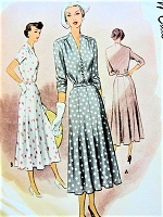 1940s BEAUTIFUl Day or Special Occasion Dress Pattern McCALL 7689 Figure Flattering Bust 34 Vintage Sewing Pattern FACTORY FOLDED