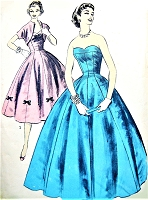 1950s GLAMOROUS Formal Evening Gown or Cocktail Party Dress Pattern ADVANCE 7704 Bouffant Strapless Princess, Sweetheart Neckline, Bolero Jacket Bust 33 Vintage Sewing Pattern FACTORY FOLDED