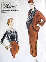 1950s STUNNING Suit Pattern VOGUE Couturier Design 774 Boxy Jacket Cutaway Front, Slim Skirt Beautiful Blouse Bust 30 Vintage Sewing Pattern