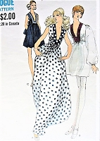 1970s SIZZLING Evening Party Dress or Maxi Gown Pattern MISS VOGUE 7828 Plunging Low Neckline High Waisted Dress 3 Versions Bust 36 Vintage Sewing Pattern