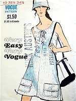 1960s CUTE Mod Dress Pattern Vogue 7829 Lace Up Bodice Aline Dress Bust 34 Very Easy To Sew Vintage Sewing Pattern