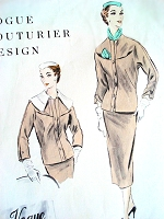 1950s UNIQUE Suit Pattern VOGUE COUTURIER 784 Slim Built Up Waist Skirt, Fitted Jacket has Large Detachable Collar Bust 34 Vintage Sewing Pattern FACTORY FOLDED