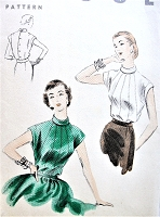 1950s BEAUTIFUL Blouse Pattern VOGUE 7863 Sectional Front, Bias Fold Turtle Neck Daytime or Evening Bust 30 Vintage Sewing Pattern