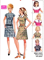 60s Mod Shift Dress and Detachable Collars Pattern Cute Kawaii Dress Style Simplicity 7867 Vintage Sewing Pattern UNCUT FACTORY FOLDED Bust 38