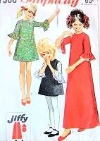 CUTE 60s Girls Dress Pattern SIMPLICITY 7966 A Line Dress Ruffle Sleeve Girls Mod Mini Dress Pattern Girls Maxi Hippie Dress Vintage Sewing Pattern UNCUT
