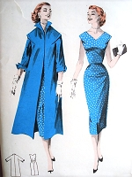 1950s STYLISH Slim Coat and Dress Pattern BUTTERICK 8046  V Neckline Sheath Dress, Cuffed Sleeves Wing Collar Coat Bust 36 Vintage Sewing Pattern