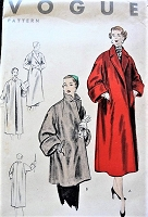 1950s EASY To Make Coat Pattern VOGUE 8063 Straight Coat In 2 Lengths, Convertible Neckline, Luxurious Deep Cuffs Bust 36 Vintage Sewing Pattern